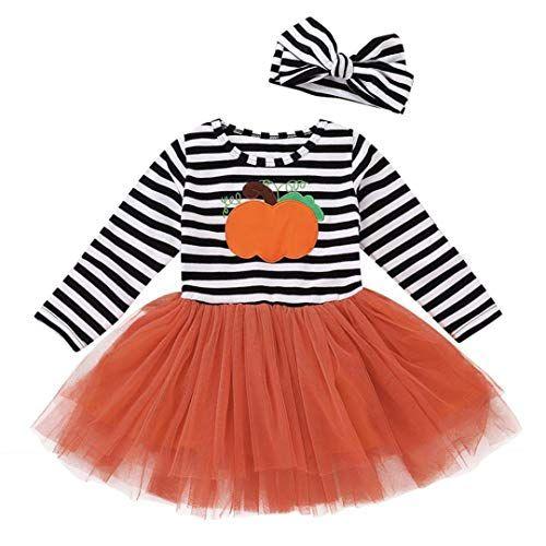 Hatoys Cute Halloween Costume Baby Girls Pumpkin Dresses Headband Long  Sleeve Tops+Bow Skirt Outfit Set (3T(Height 105-110cm) be71566af