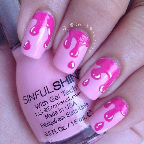 Pink drip nail art ♡