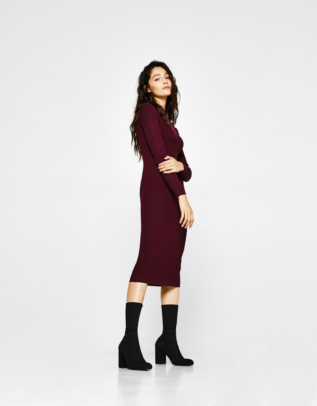 a14d008120df1f Bershka United States - Ribbed dress with button neck
