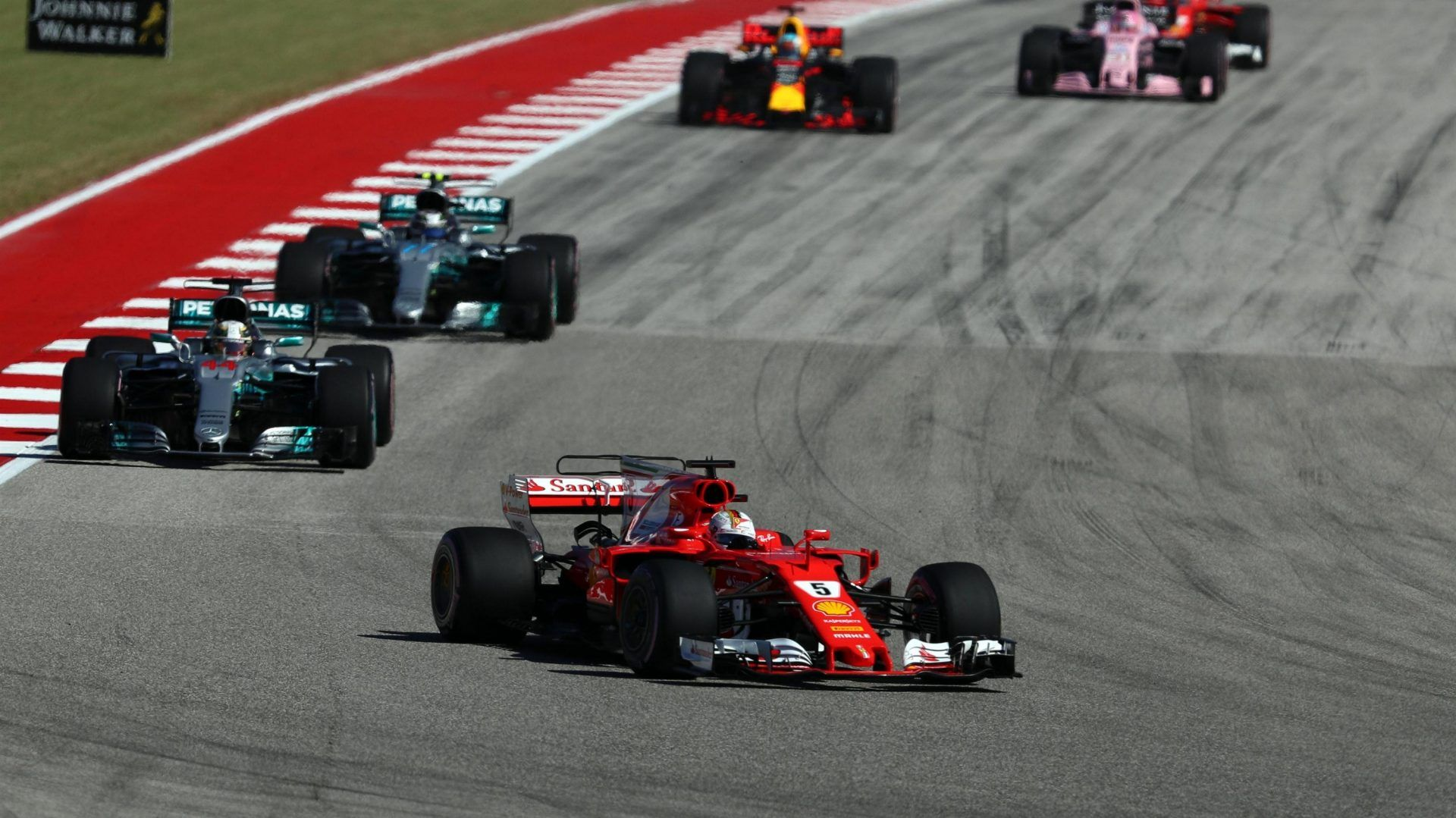 Sebastian Vettel Ferrari SF70-H Leads At The Start Of The