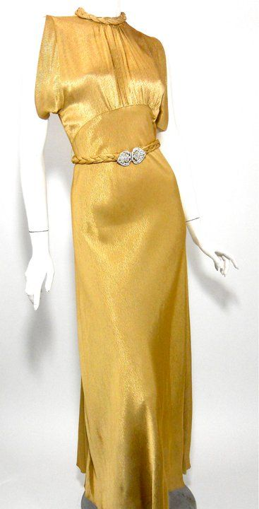 1930s gold crepe back silk satin gown with rhinestone braided sash, slit open back