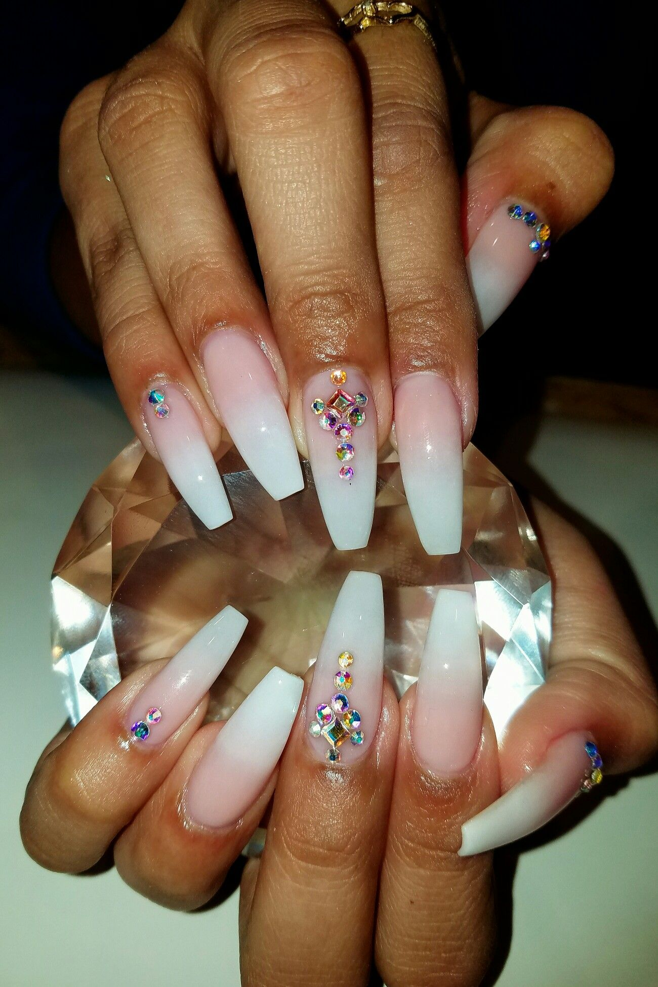 French ombr coffin nails with rhinestones