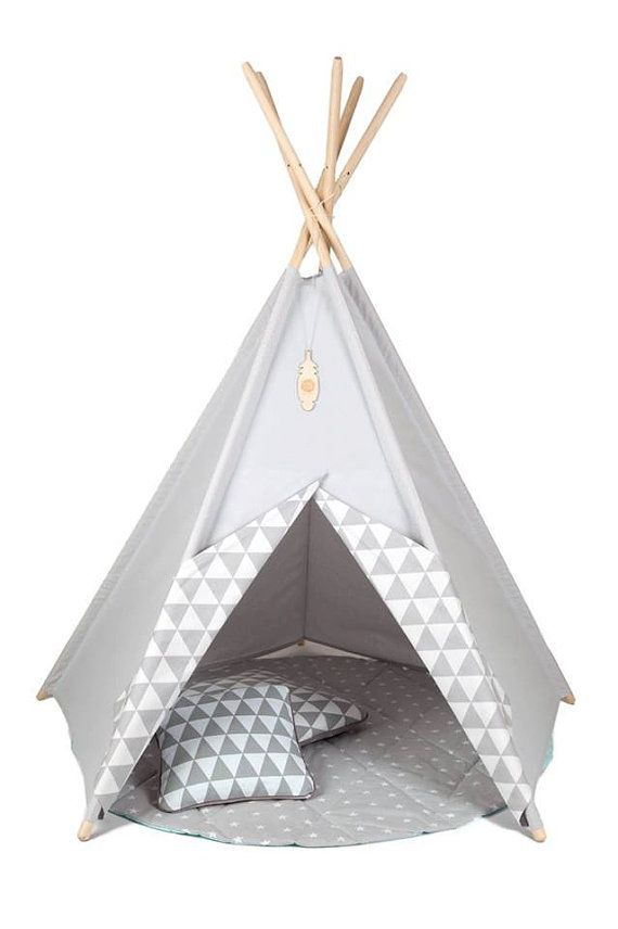 kinder tipi m dchens wigwam zelt grau kinder von teepeelittlenomad kinderzimmer pinterest. Black Bedroom Furniture Sets. Home Design Ideas