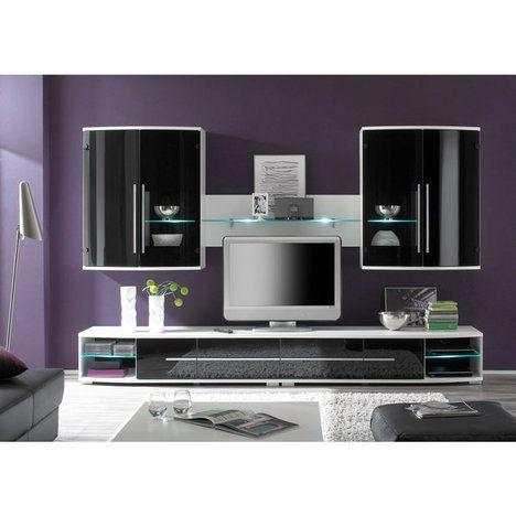 Wohnwand BLACKSTAR 2 - schwarz-weiß - LED-Beleuchtung 2 - hängeschrank wohnzimmer weiß