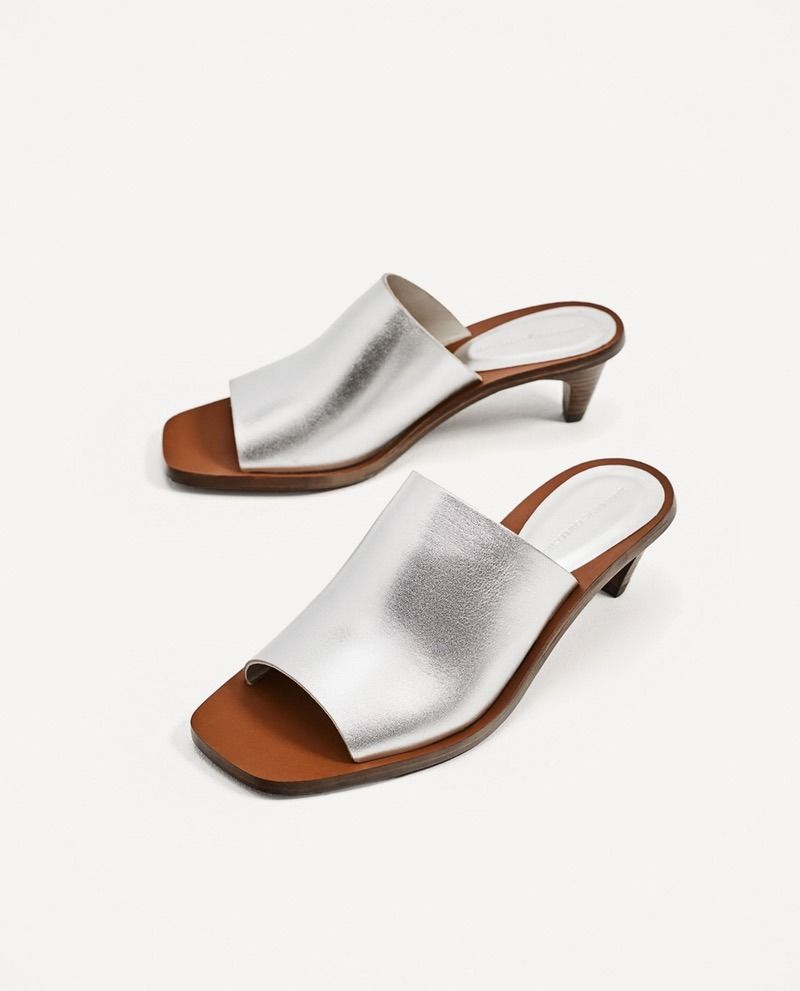 227f8cba1d3967 Solange would applaud these Zara silver-toned leather mules ...