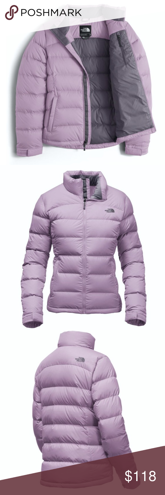 3f4f5d71e NORTH FACE Nuptse Lilac Grey Puffer Coat JACKET S BRAND NEW!! Super ...