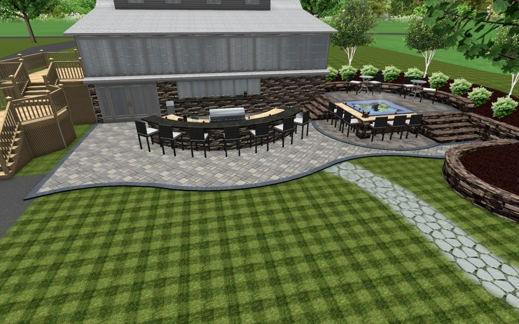 3D Design, Paver Patio With Large Outdoor Kitchen, Long Bar Area, And A