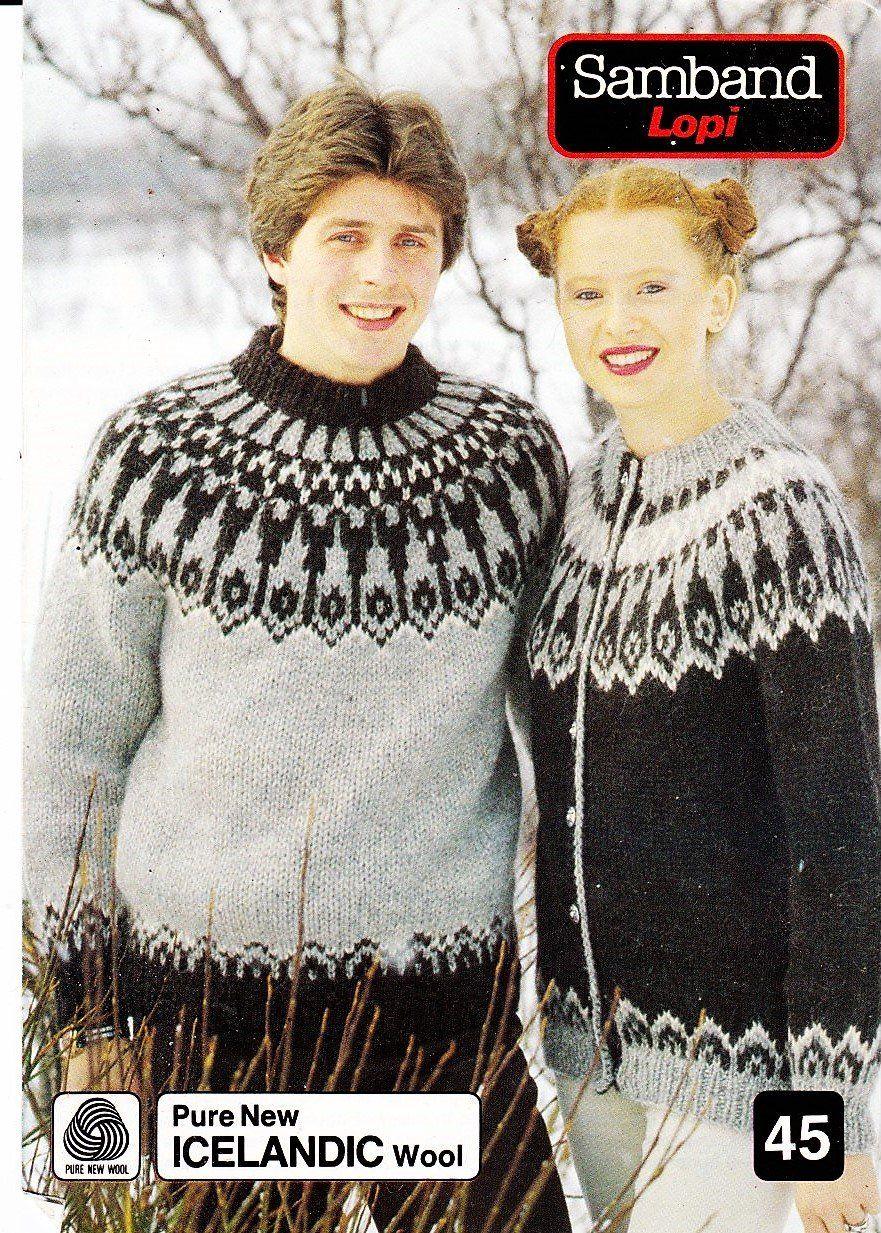 Knittingpattern70s80sicelandicsweaterandcardigansambard45