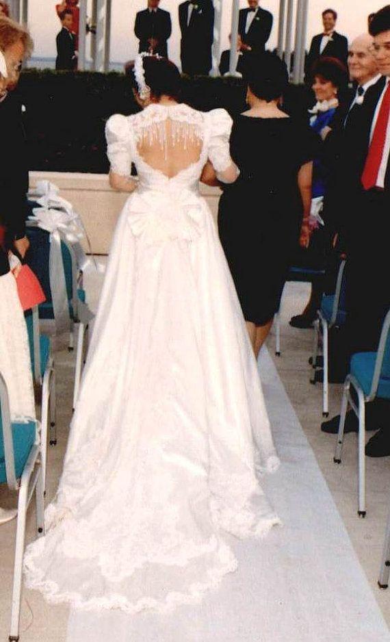 Royal Princess style Vogue Wedding Dress w Enchanting Elegant Pearl backdrop waterfall A-line
