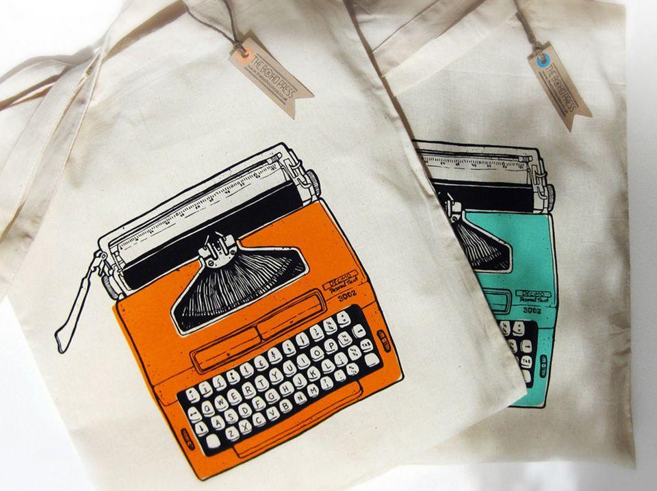 Vintage typewriter illustration artwork screen printed on to tote ...