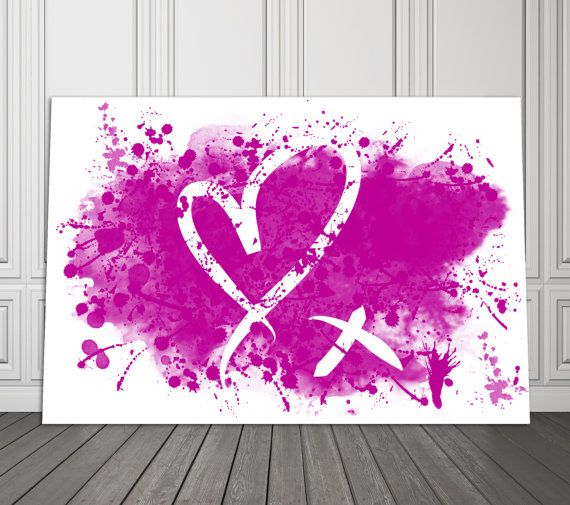 Hot Prink Heart Kiss Water Color Home Decor Dorm by PrintFusion