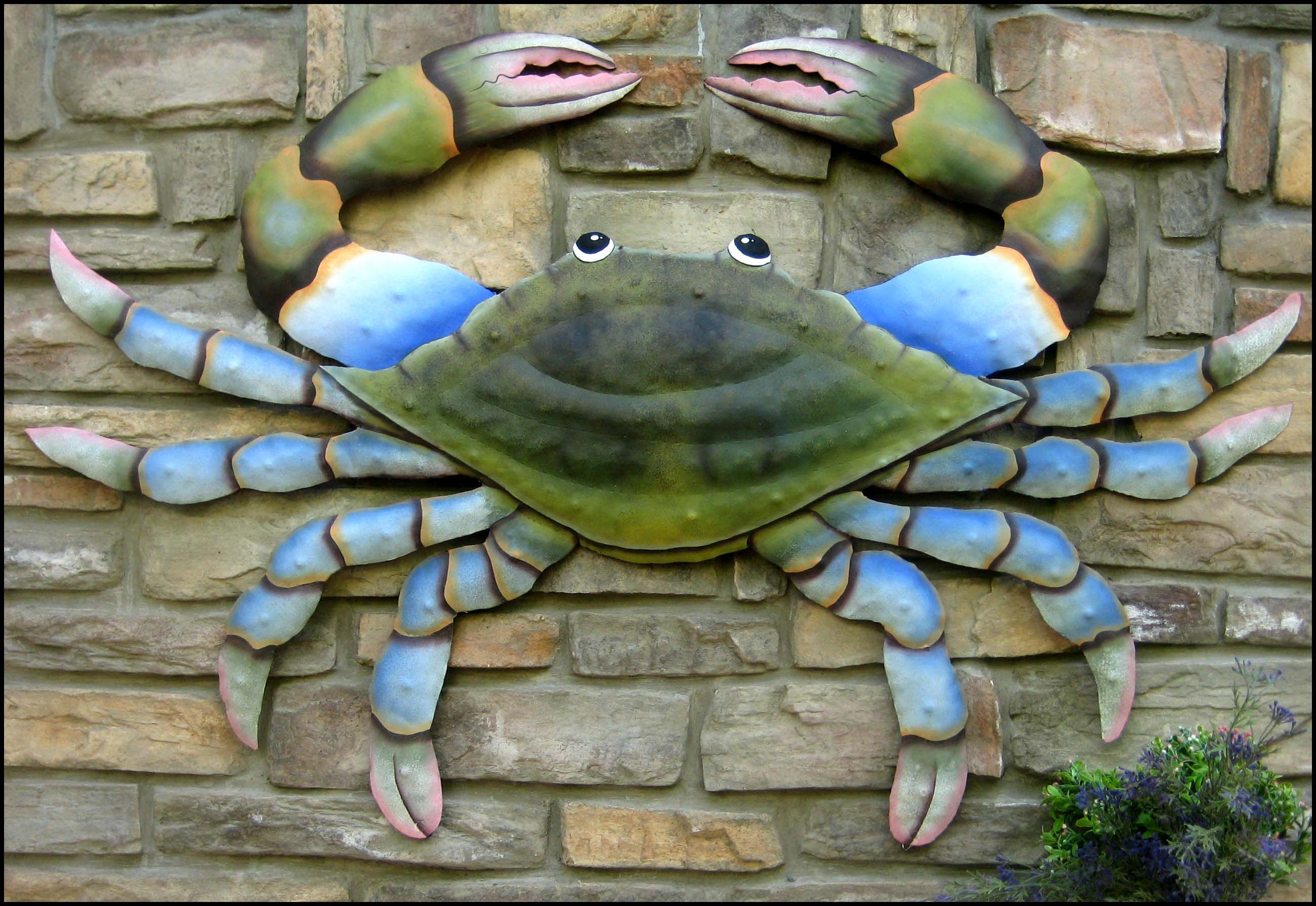 Outdoor Metal Art Tropical Wall Decor Metal Crab