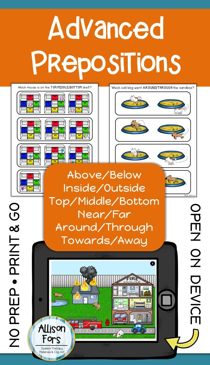 Advanced Prepositions Worksheets NO PREP Speech Therapy