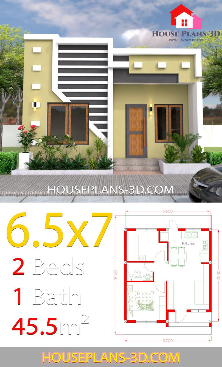 Small House Design 6 5x7 With 2 Bedrooms Full Plans House Plans 3d Rumah Indah Denah Rumah Pedesaan Arsitektur