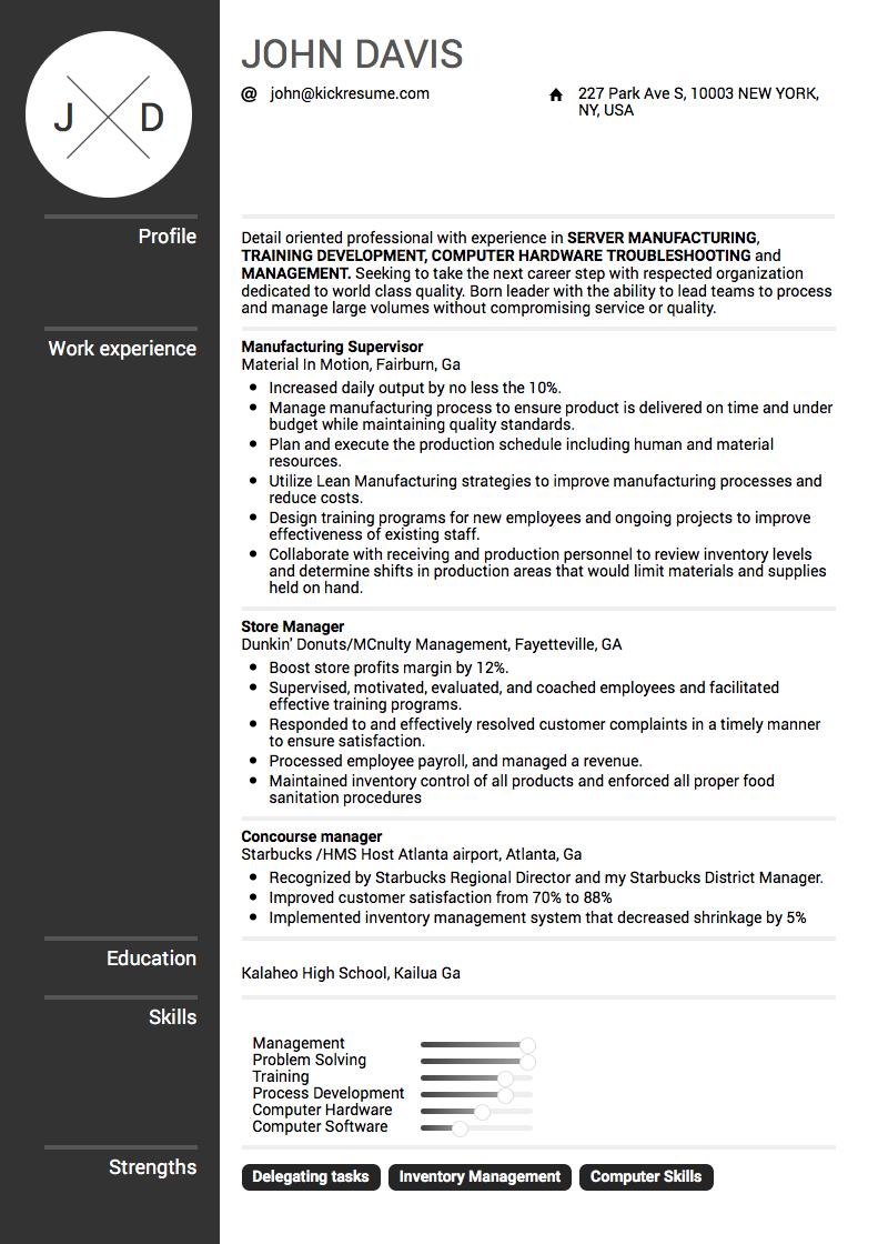 Google Manufacturing Supervisor Resume Example Resume
