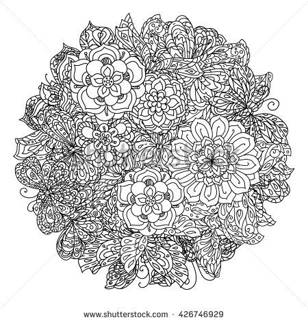Zen Mandalas Coloring Book : Uncoloured flowers and butterfly for adult coloring book in famous