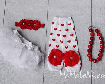 Baby girls 4pc Outfit: Baby girls WHITE ruffled bloomers, headband, leg warmers, necklace; Smash the Cake, Christmas, Valentine's, Hearts