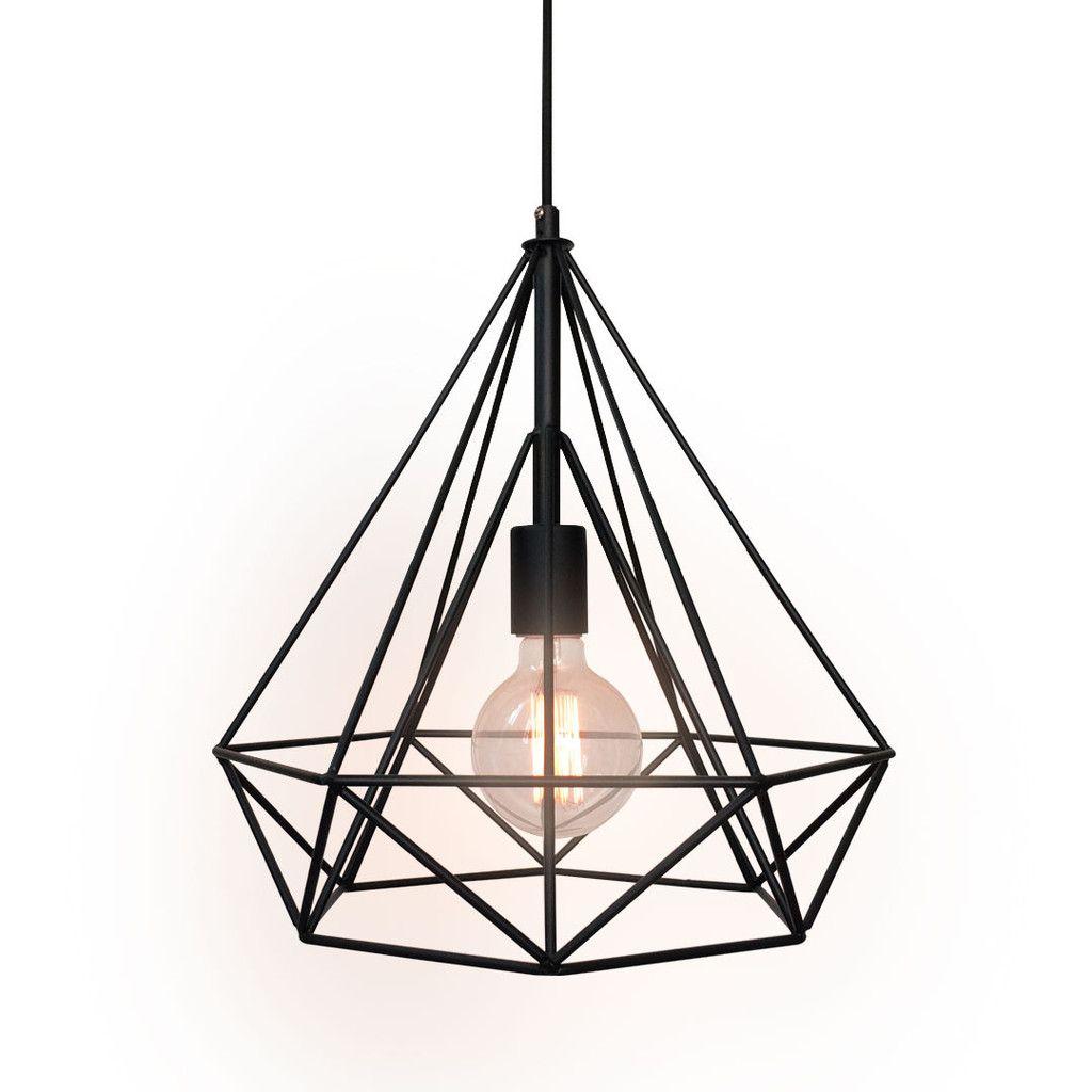 Westmenlights Diamond Geometric Industrial Chandelier Ceiling Pendant Lamp Black Lounge Hanging Cage Pendant Light Pendant Ceiling Lamp Ceiling Pendant Lights