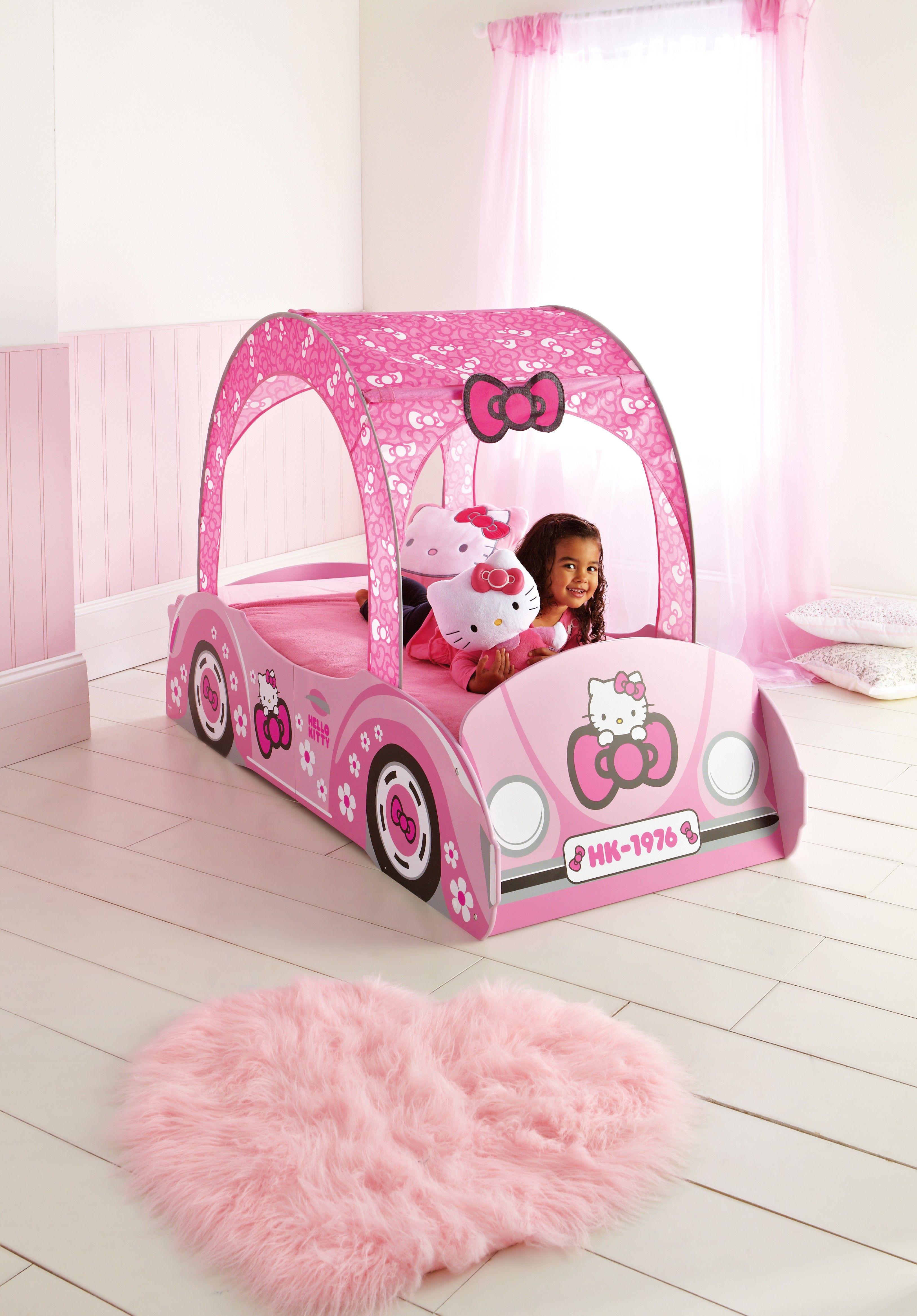 fabulous livraison rapide hyper mignon le lit en forme de voiture hello kitty avec son baldaquin. Black Bedroom Furniture Sets. Home Design Ideas