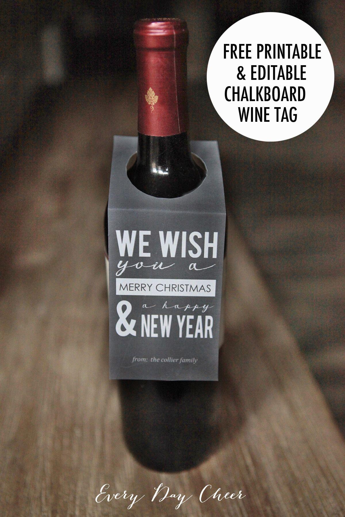 Printable Holiday Wine Tag - http://everydaycheer.com/2013/12/11/printable-holiday-wine-tag/
