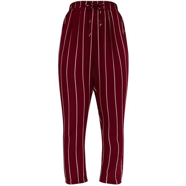 297a855f89b3 Burgundy Pinstripe Casual Trousers ( 30) ❤ liked on Polyvore featuring pants