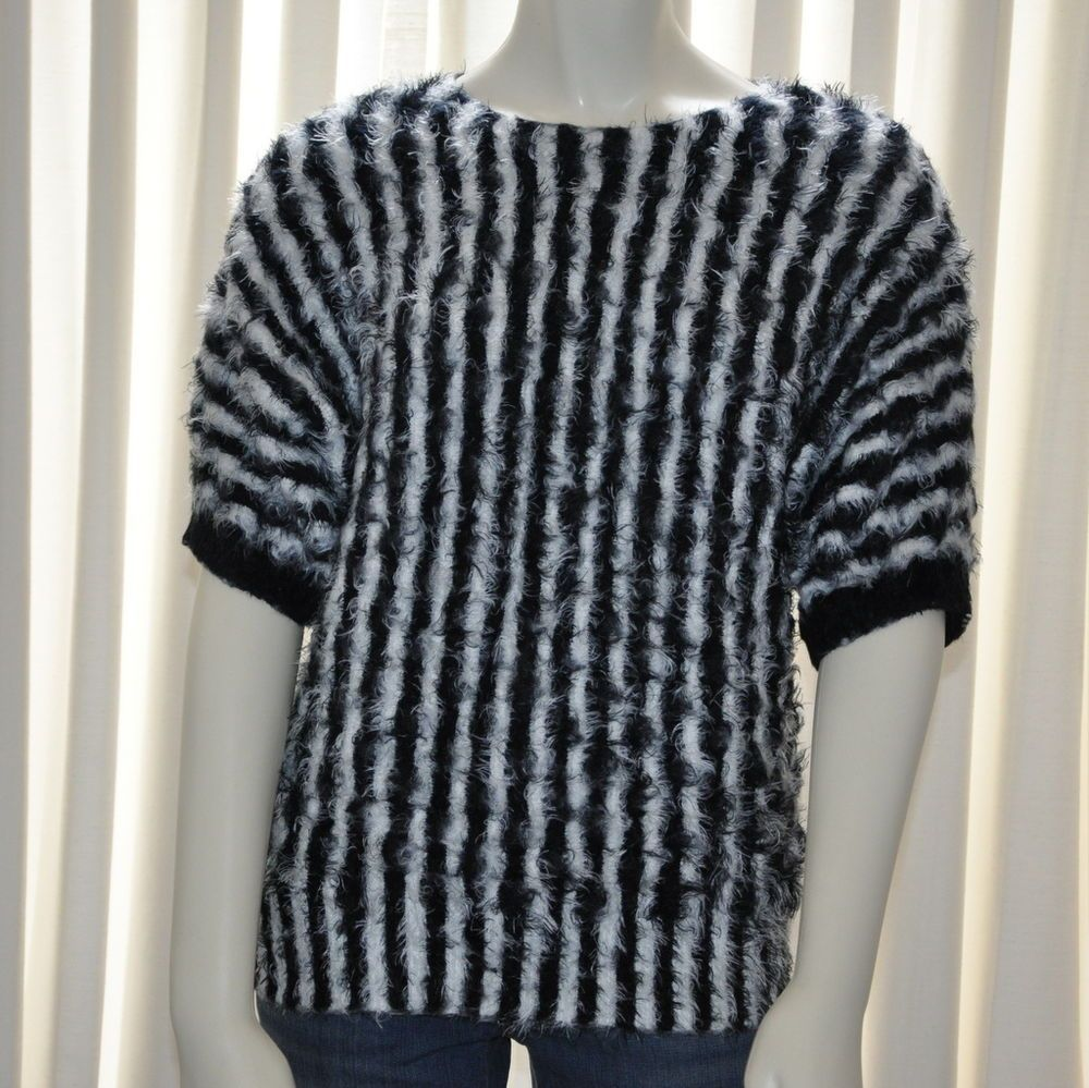 Lauren Michelle Sweater Womens Size Large L Black White Striped