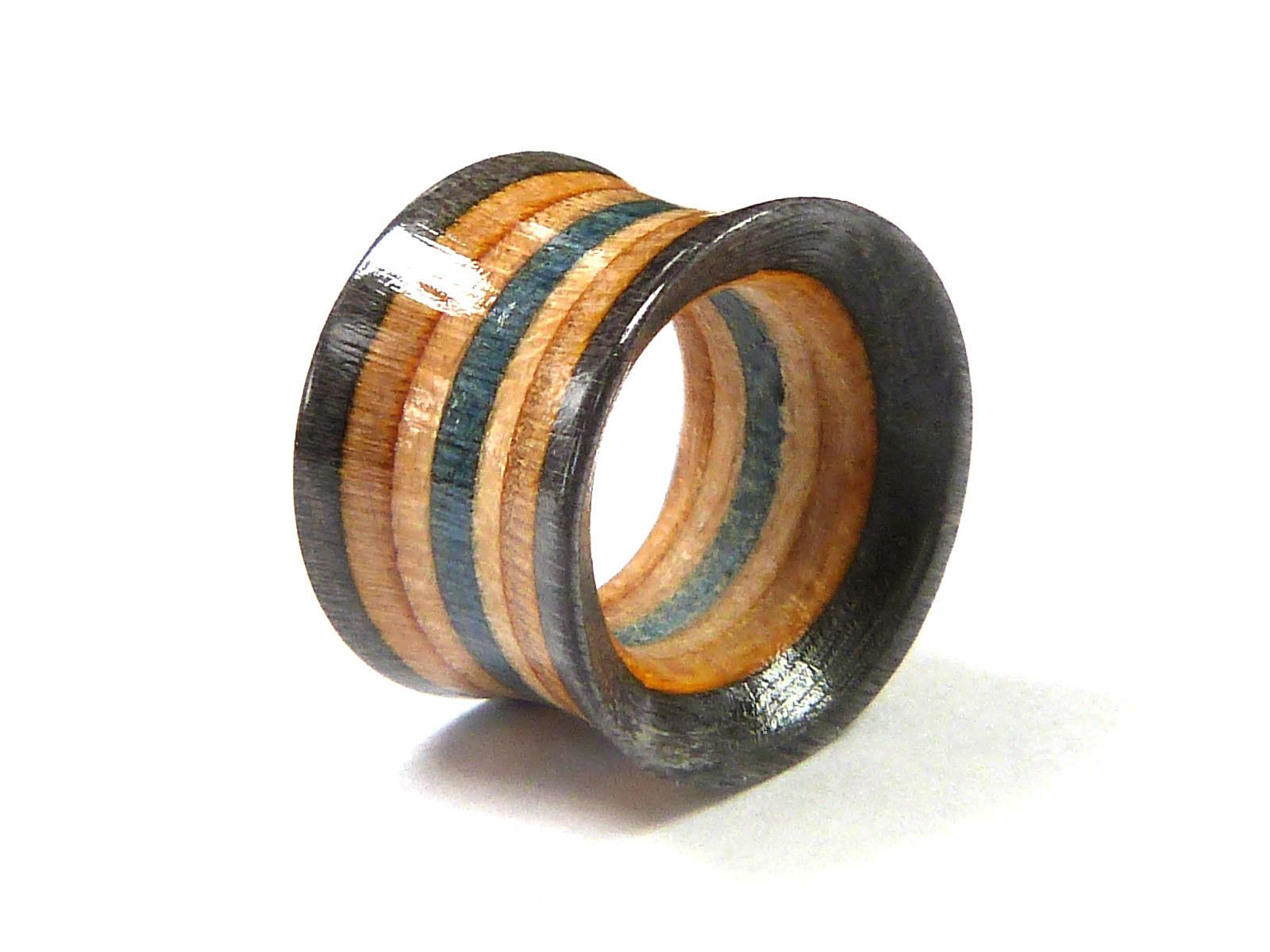 Gauges Ear Gauge Pair Of Tunnels Recycled Skateboards Plugs and Tunnels Ear Plugs Wooden Plugs Wooden Plug Wood Tunnel Wood Tunnels