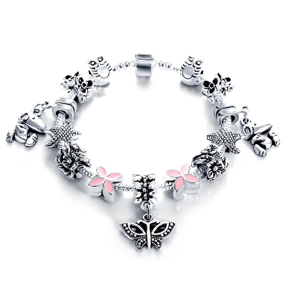 European authentic silver antique bracelets u bangles for women bead