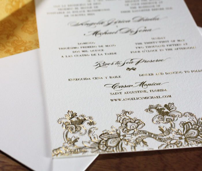 Elegant floral lace in gold foil printing on wedding invitation with fancy matching envelope liner | Invitations by Ajalon | invitationsbyajalon.com