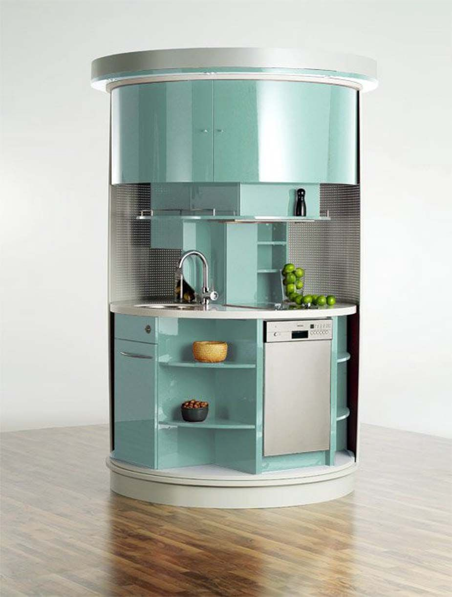 Kitchen Futuristic And Space Saving Rounded Kitchen Unit For Small Space Cool Kitchen Design Ideas For Small Spaces Small Kitchen Ideas Mini