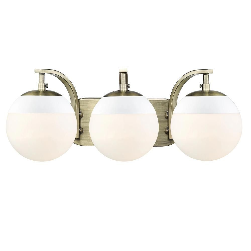 Photo of Dixon 3-Light Vanity made of aged brass