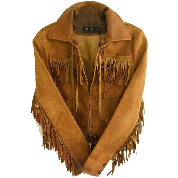 Pre-owned Polo Ralph Lauren Vintage Inspired Fringe Leather Camel... (£400) ❤ liked on Polyvore featuring outerwear, jackets, camel brown, long sleeve jacket, zip front jacket, genuine leather jacket, long sleeve crop jacket e cropped jacket