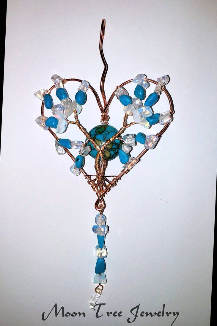 Turquoise Opalite Heart Tree of LIfe pendant by ksuecsr