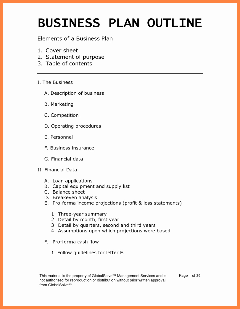 One Page Business Plan Template Free Word Google Docs Pdf