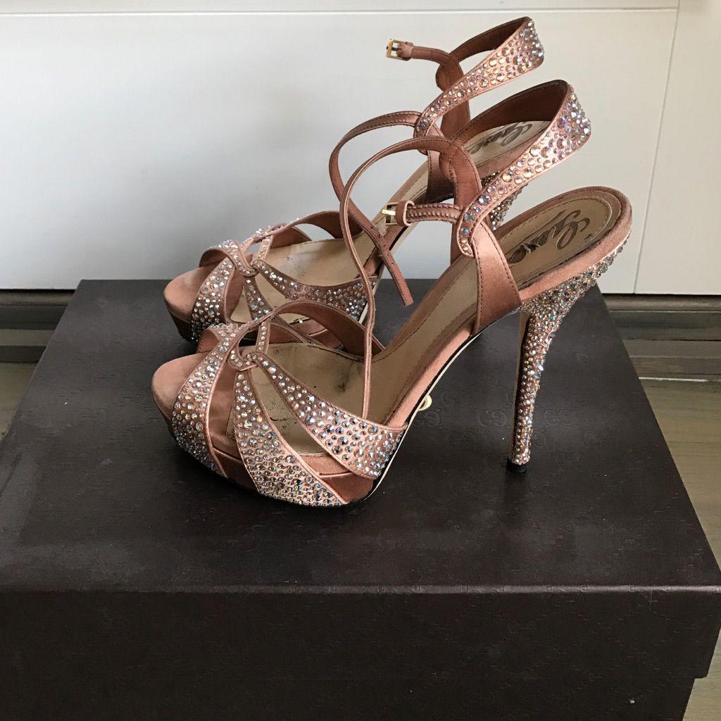 Bridal Shoes Saks: Gucci Peach Strass Satin Sandals, 37