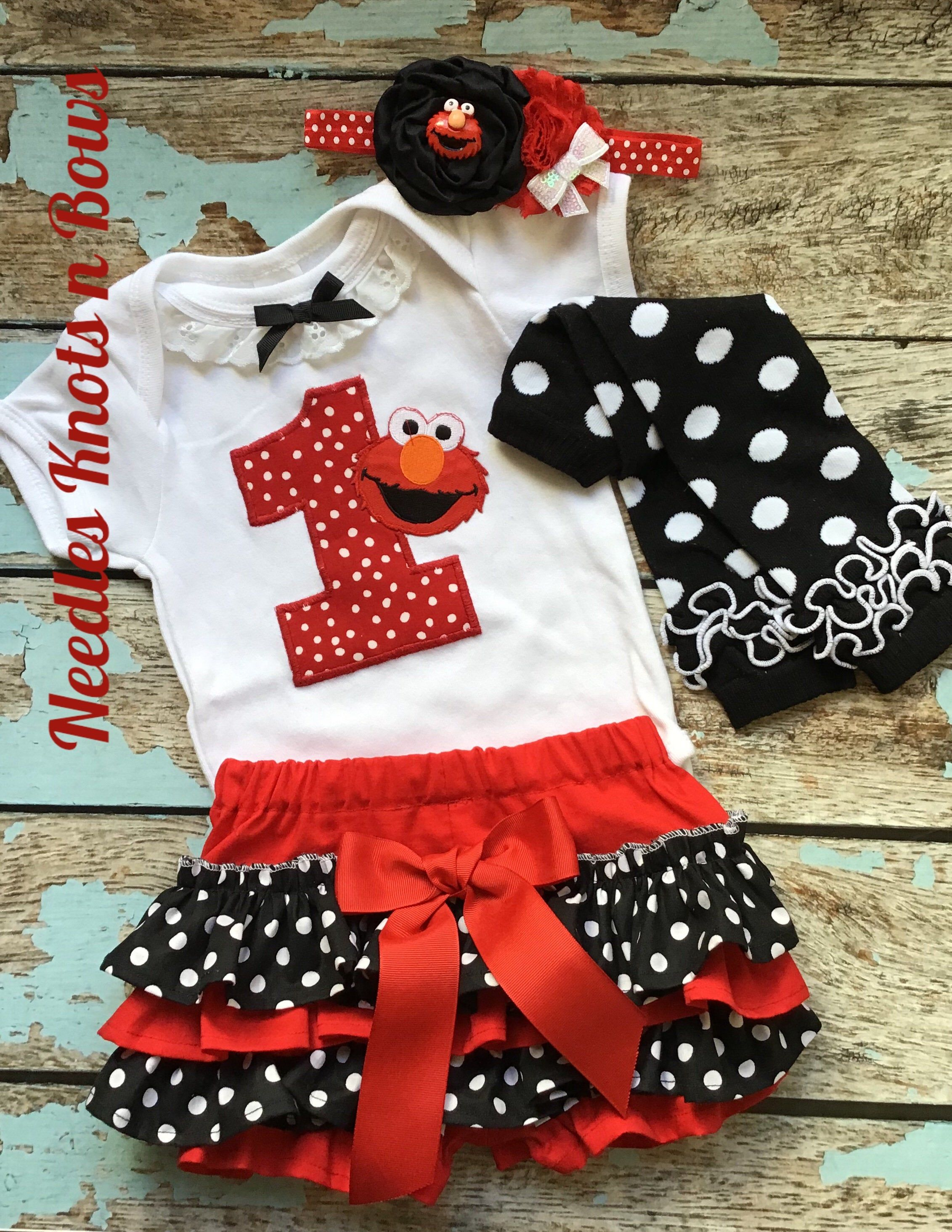 Elmo Red Rainbow Balloons 2nd Second Birthday Shirt Tutu Outfit Set Party girl