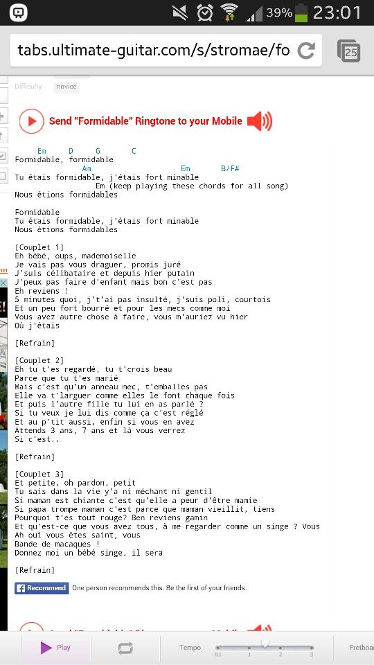 Formidable Stromae Guitar Tabs Geweldige Muziek Pinterest