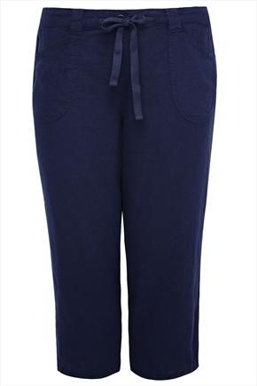 Navy+Linen+Mix+Pull-On+Cropped+Trousers+With+Waist+Tie+50258