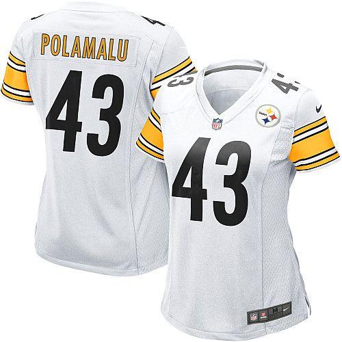 4db8611f8 Nike Limited Womens Pittsburgh Steelers  43 Troy Polamalu White NFL Jersey   79.99