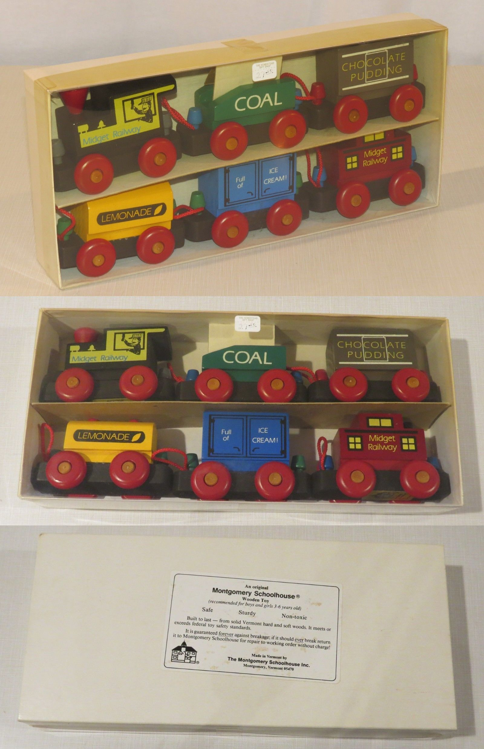 pull toys 728: new - montgomery schoolhouse wooden toy train
