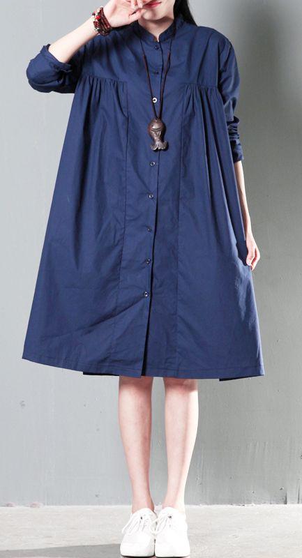 16a8c848d23 Navy blue oversize women linen shirt dress plus size cotton blouse ...