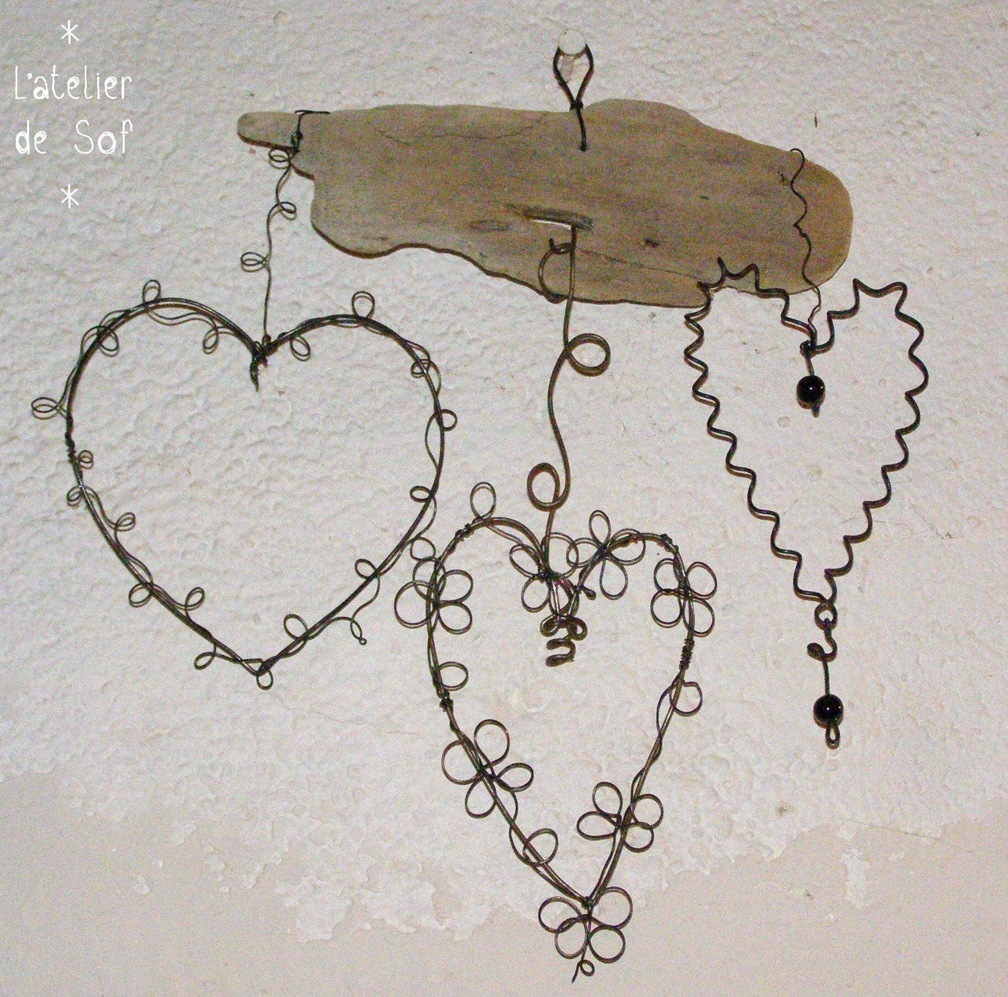 3 coeurs | Art - Wire | Pinterest | Wire crafts, Craft and Wire art