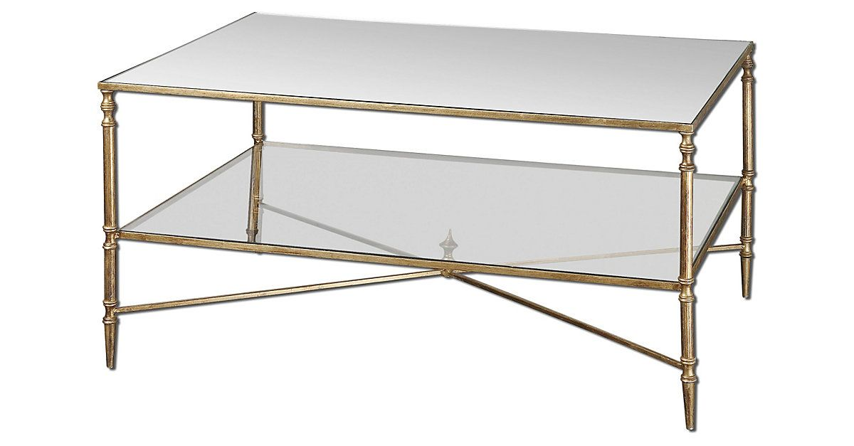 Uttermost 24276 Henzler Mirrored Gl Coffee Table Finished In Gold Leaf With Heavy Antiquing On Iron Frame And Cross Stretc