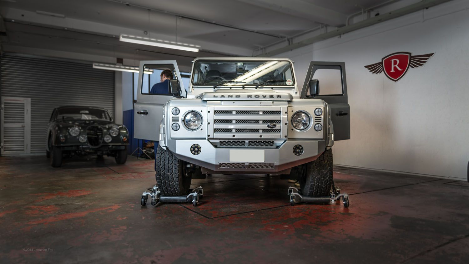 Land rover defender with body kit, custom leather upgrade seats