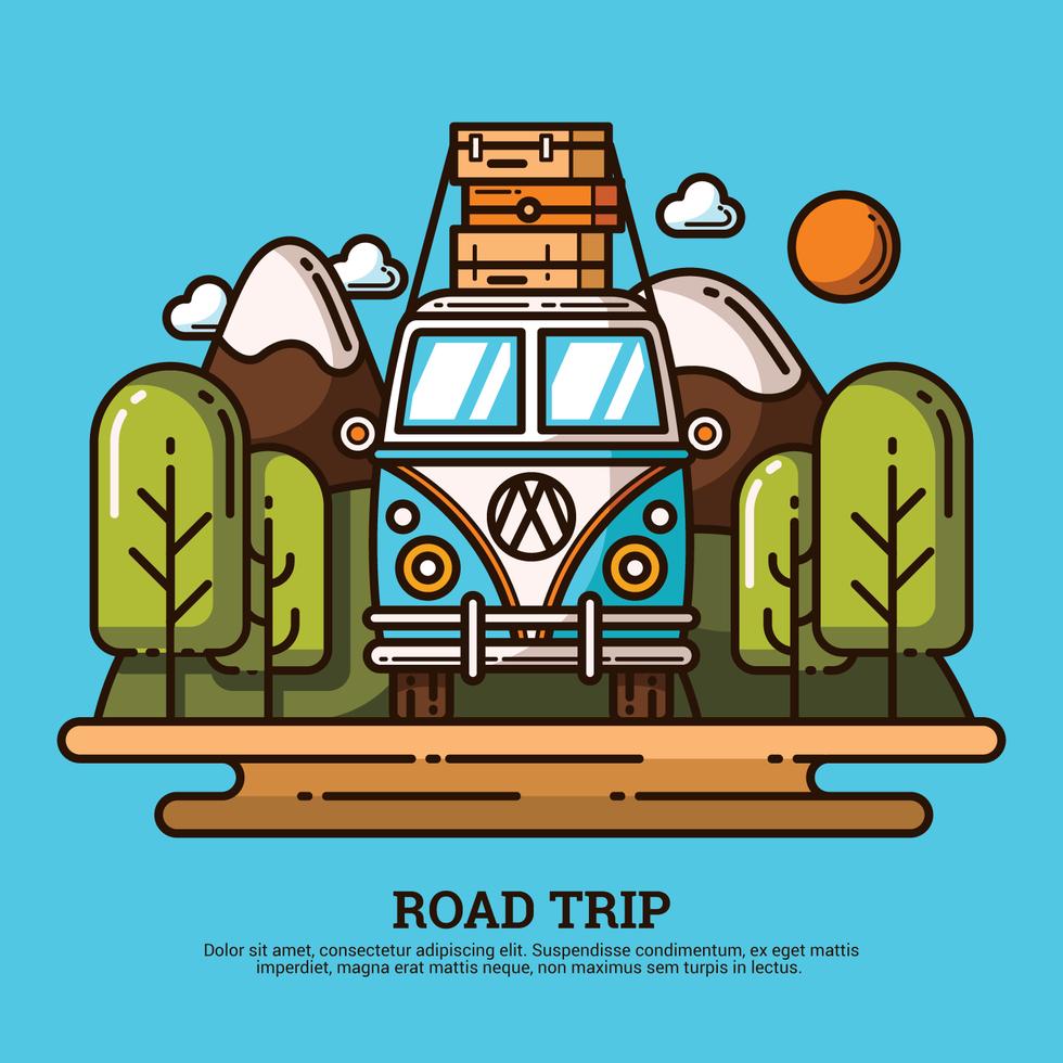 Road Trip Illustration Road Trip Art Outline Illustration Vector Character Design