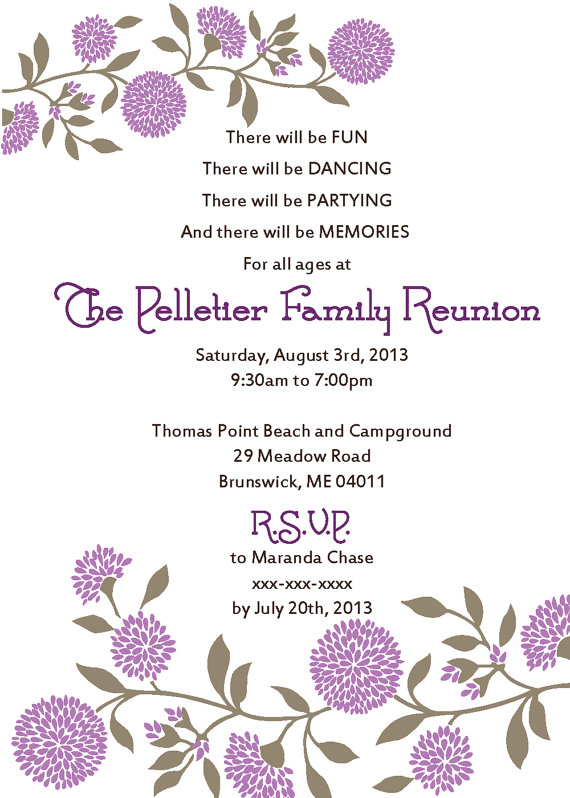 Family Reunion Invitation  Family Reunion Invitations Family