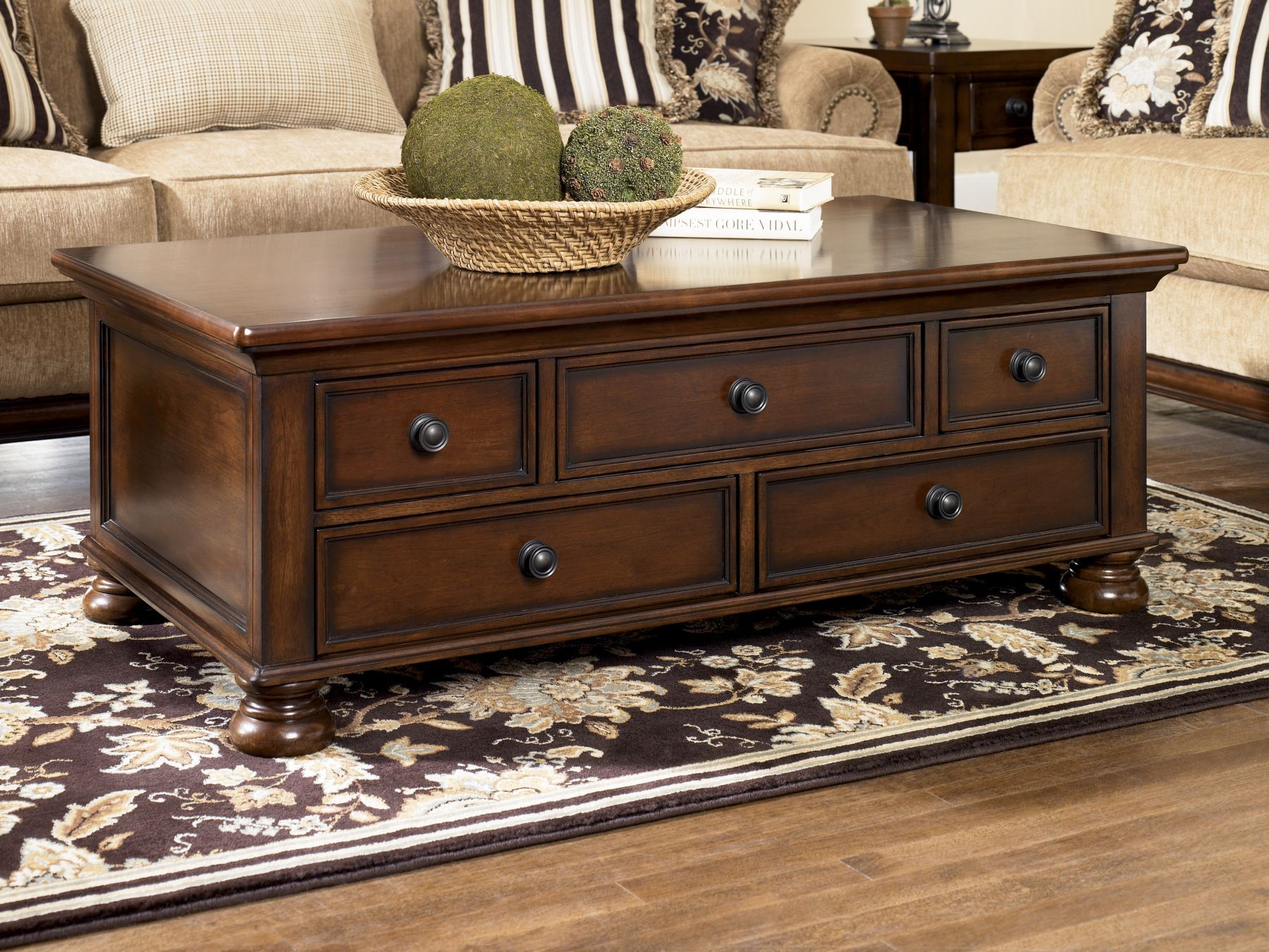 Mathis Brothers Coffee Table With Drawers Wood Living Room