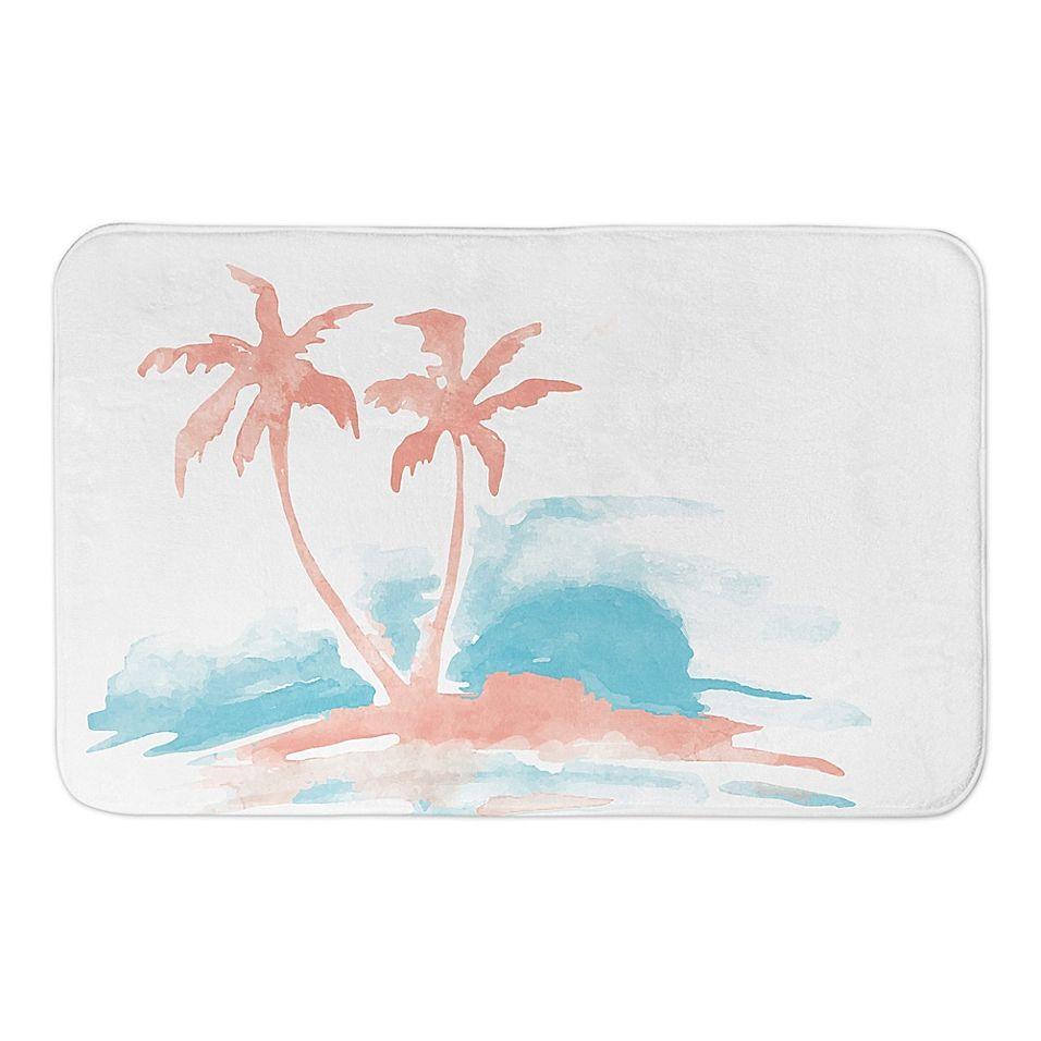 Designs Direct 21 X 34 Palm Trees Silhouette Bath Mat In Pink Palm Tree Silhouette Tree Silhouette Designs Direct