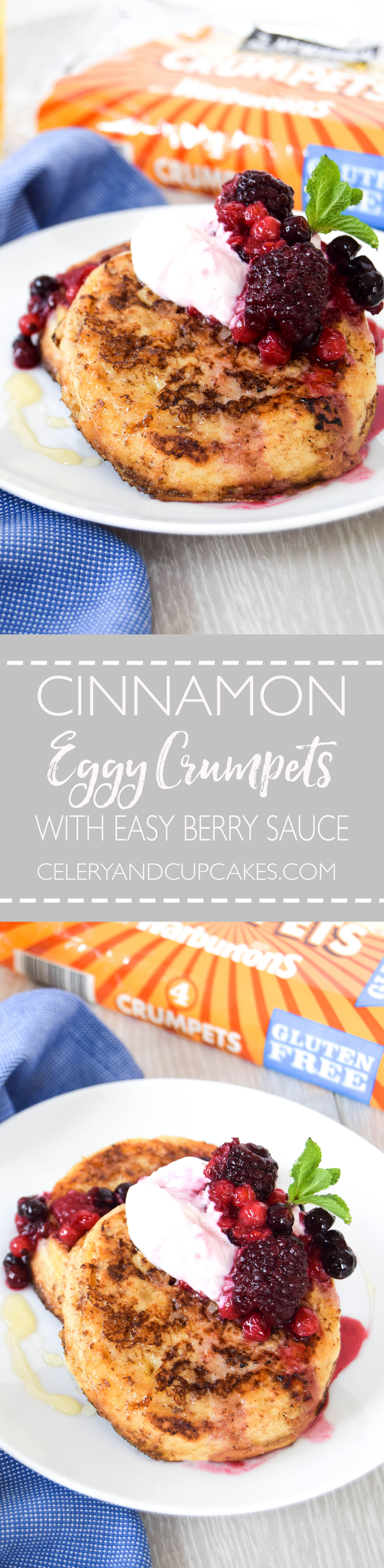 Delicious gluten free eggy crumpets spiked with cinnamon and topped with an easy berry sauce.