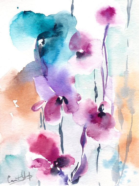 056642bf0bf Abstract Florals  Watercolor Painting Original Watercolor Painting Modern   Watercolour Art Color theme  pink